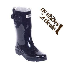 Women's Black 11'' Rubber Rain Boots RB-1602
